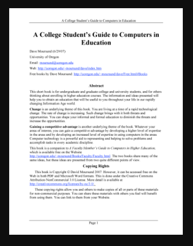 A College Student's Guide to Computers in Education