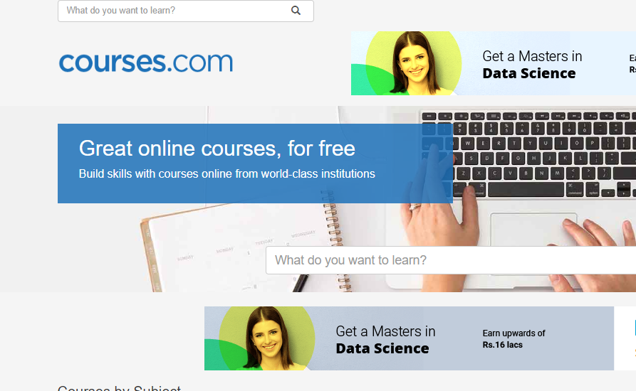 Courses.com is one of the civil engineering free online courses platform