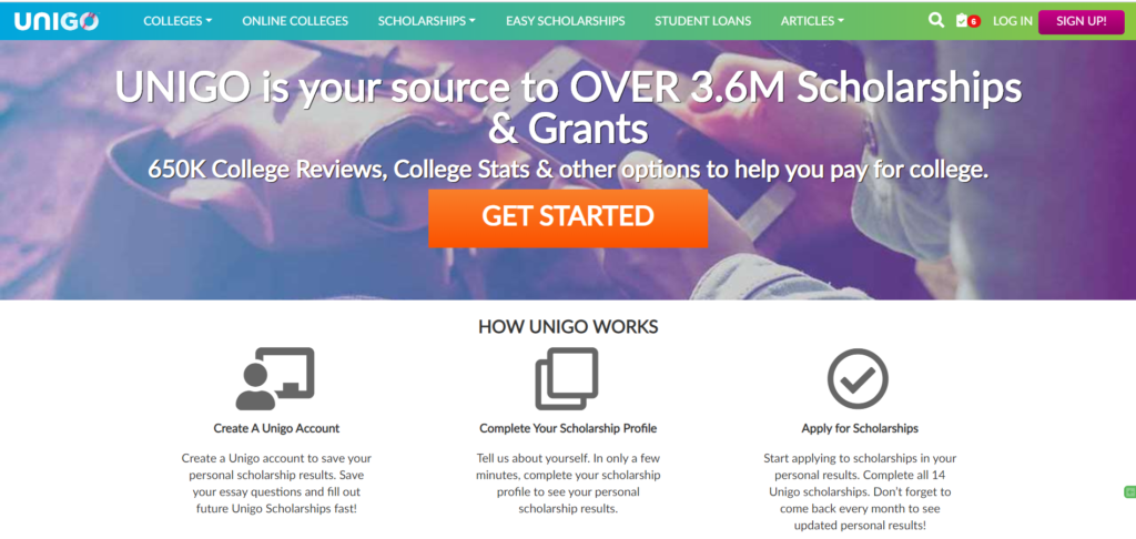 Unigo scholarship finder offers approximately 2000 filters or categories for scholarship