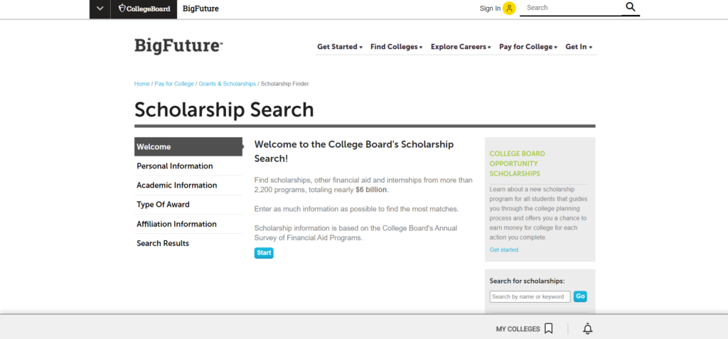 College Board's Scholarship is a leading platform to locate college scholarships and grants.