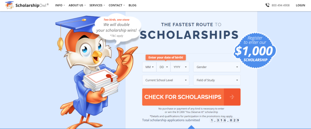 With Scholarship Owl  you can apply for hundreds of scholarships with a single application.