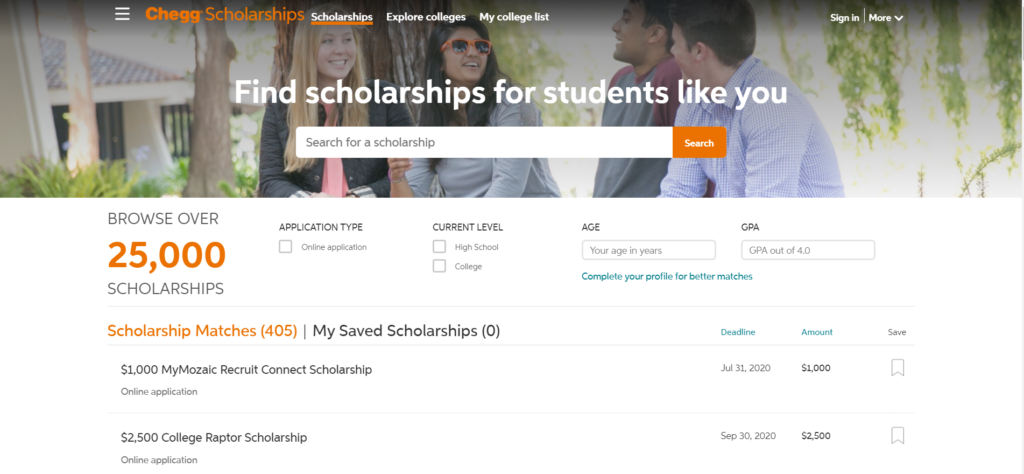 Chegg scholarship finder is one of the fruitful scholarship tools which provides 25000 plus opportunities of scholarships