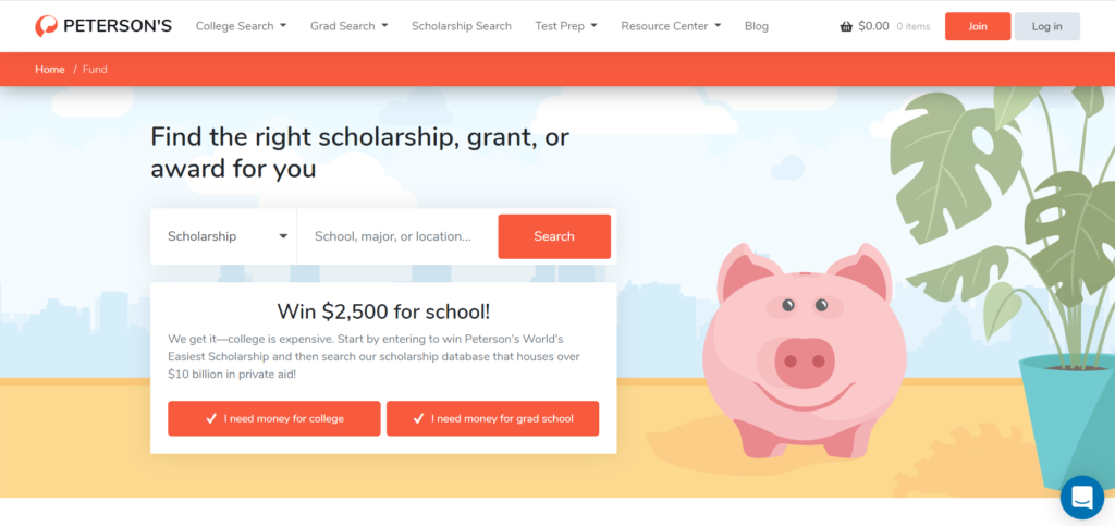 Peterson's scholarship search tool helps in finding the right scholarships for college