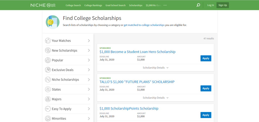 Niche is one of the best scholarship websites to search U.S. schools and college scholarships