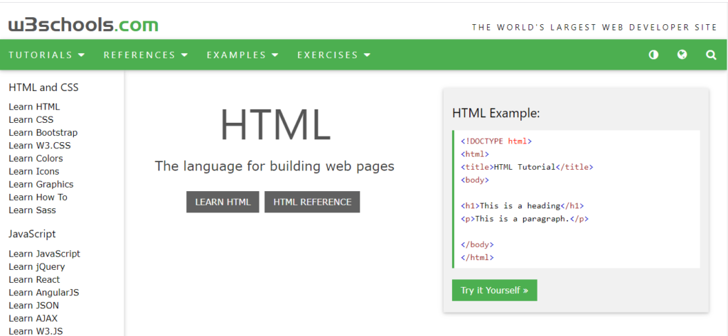 W3schools is a one-stop destination for learning web development and other trendy technology