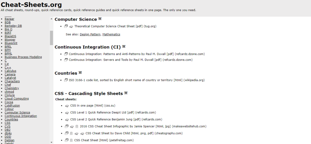 Cheat-sheet.org is a source for hundreds of programs and computer topics at your fingertips. One of the best for computer science assignments and project help