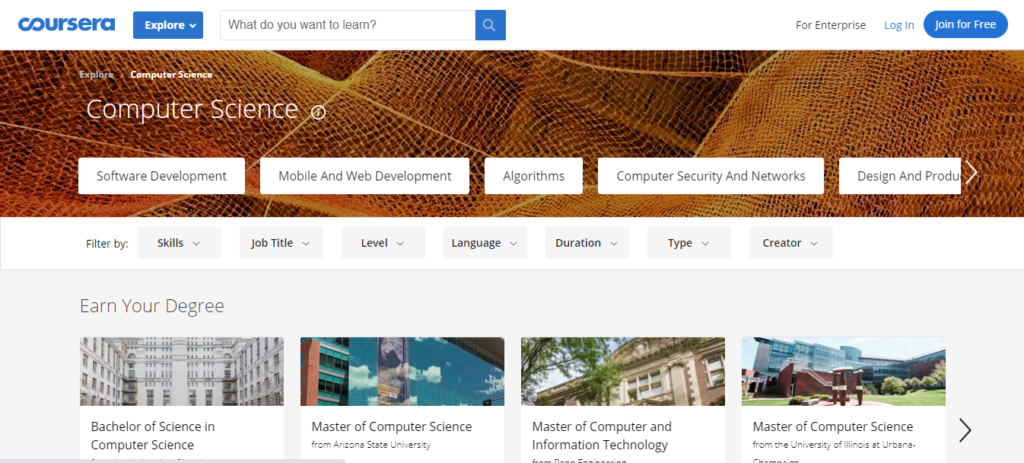 Coursera offers online computer science and programming courses from the world's best universities
