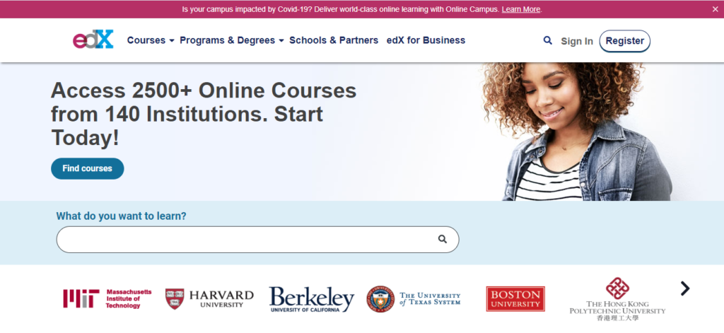 Edx has more than 150 Computer courses are available for learners