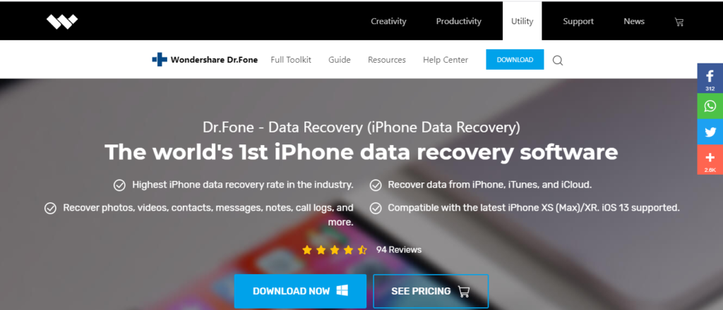 Dr. Fone is the world's first data recovery software for iOS devices